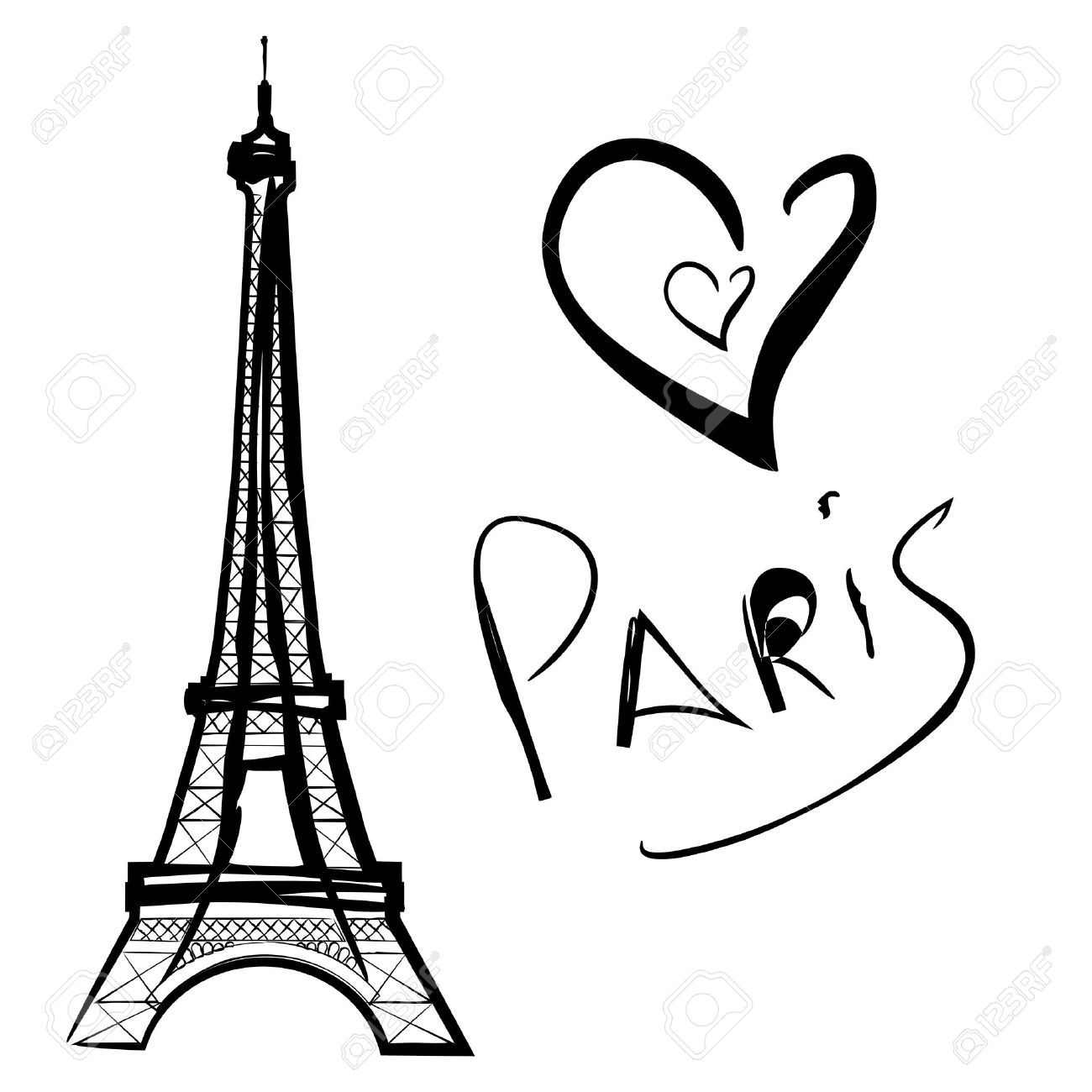 Eiffel Tower Clipart Black And White