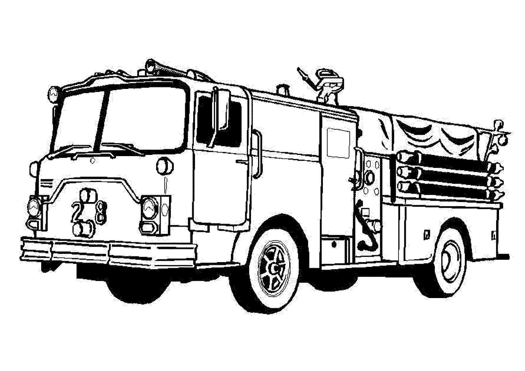 Fire Truck Black And White