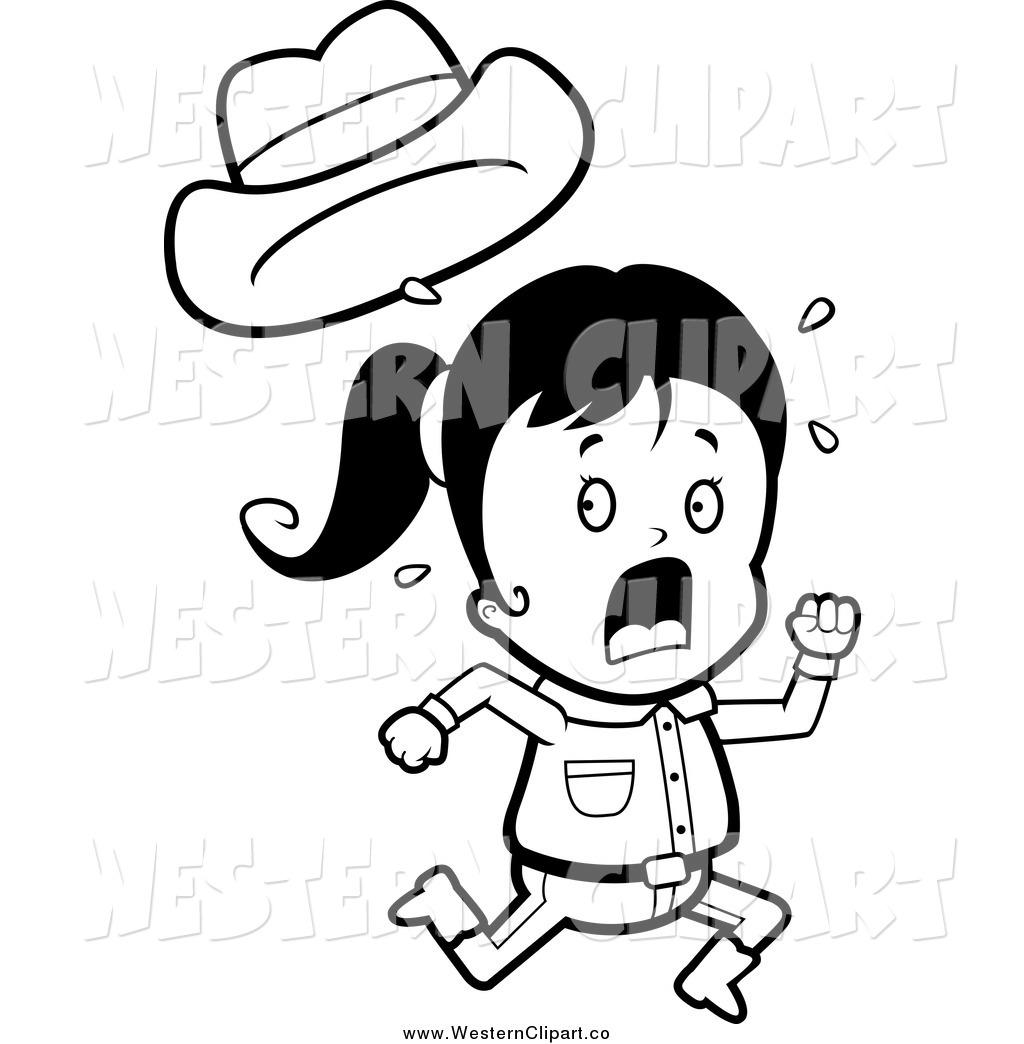 Girl Running Clipart Black And White