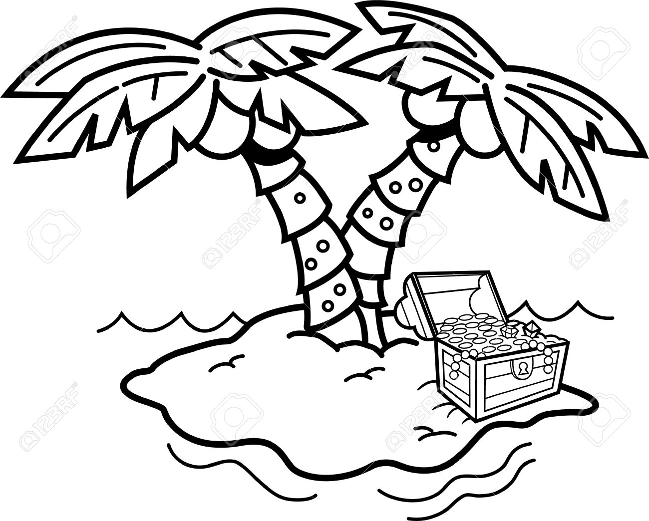 Island Clipart Black And White