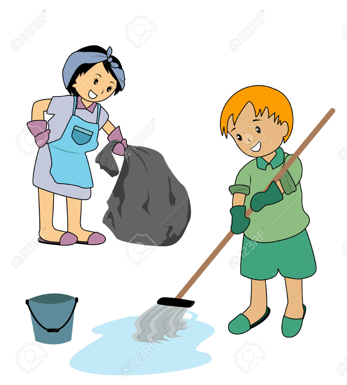 Kid Cleaning Clipart