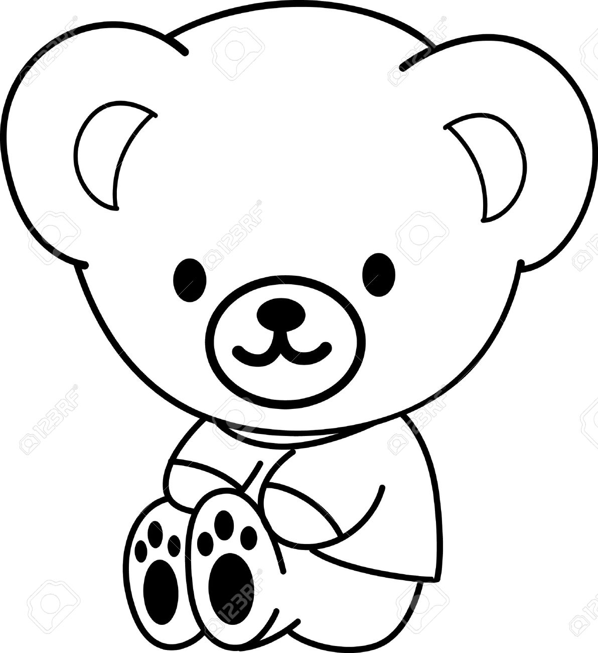 Line Drawing Teddy Bear