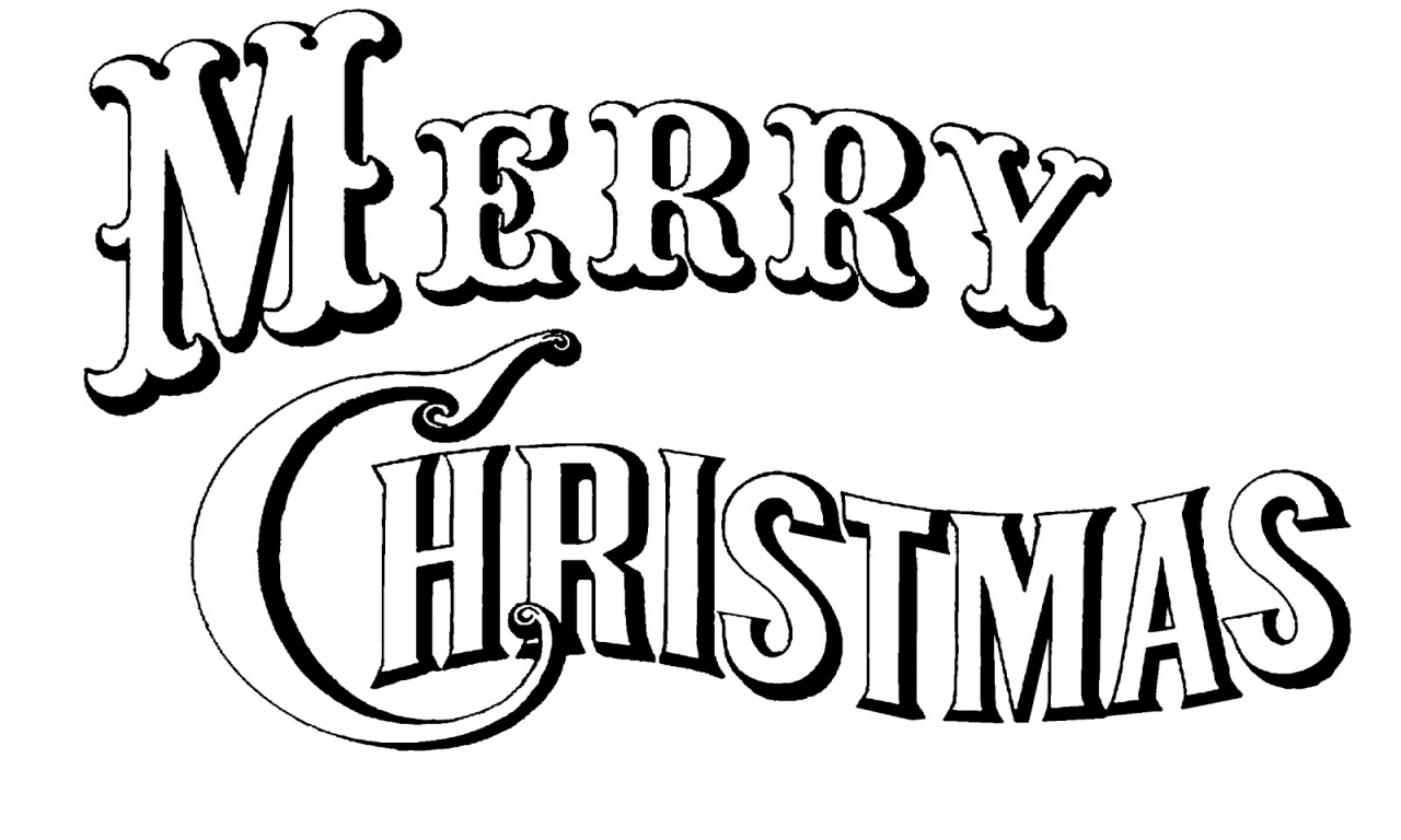 Merry Christmas Black And White Clipart