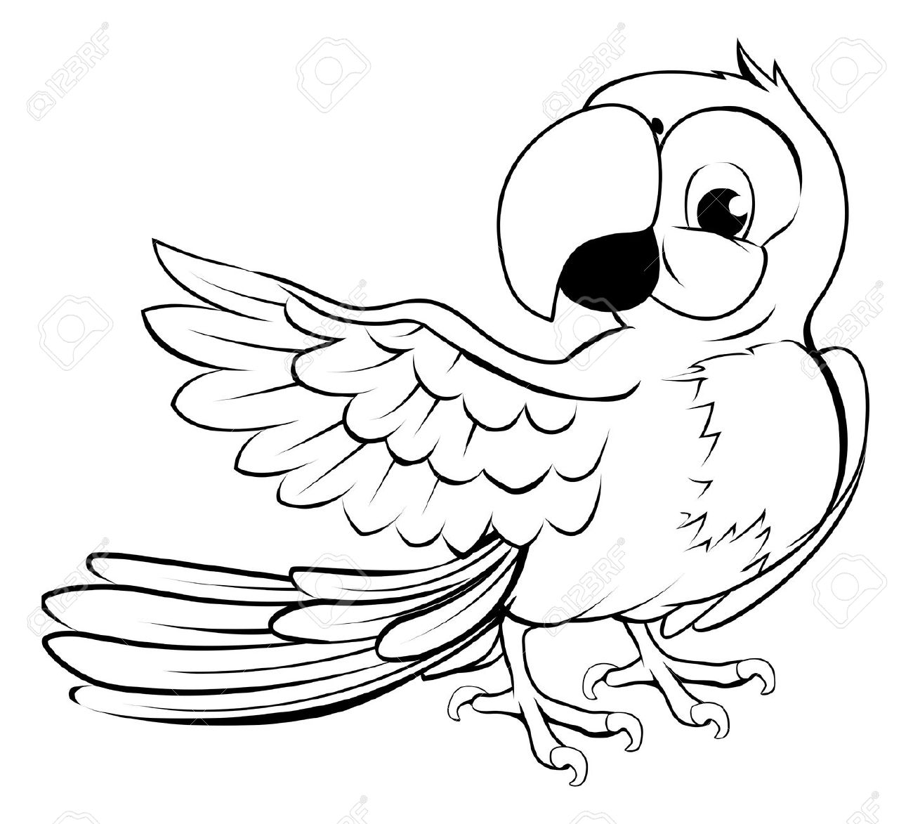 Parrot Black And White Clipart