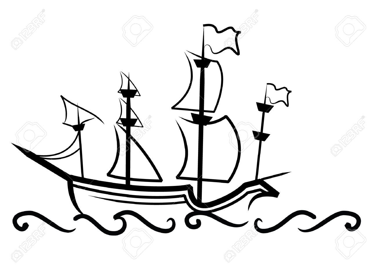 Pirate Ship Line Art