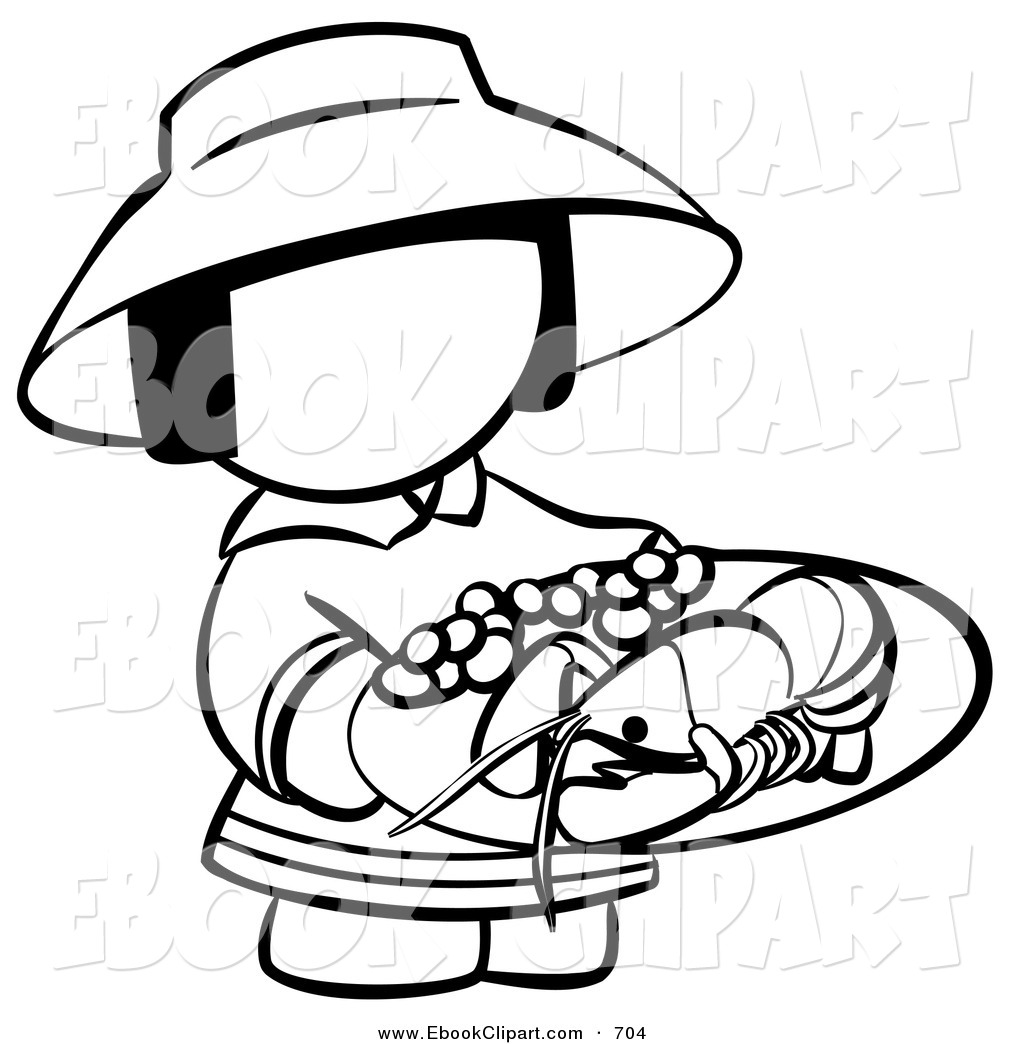 Plate Of Food Clipart Black And White