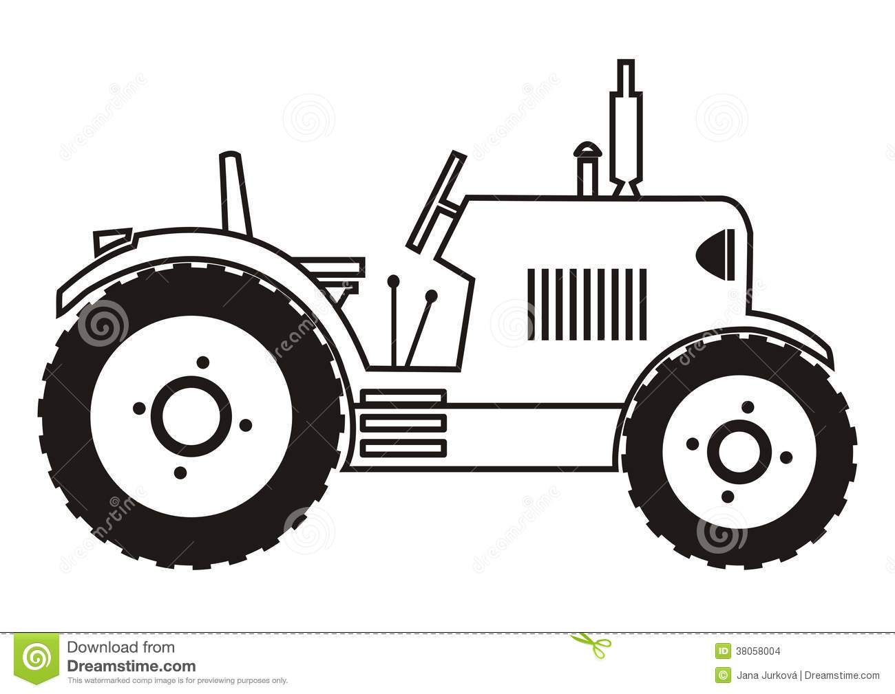Tractor Black And White
