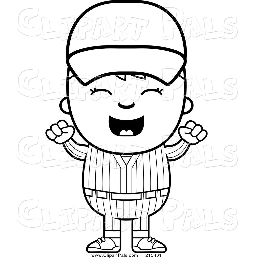 Clipart Of A Happy Baseball Kid Cheering