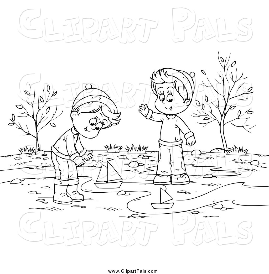 Pal Clipart Of A Black And White Boys Playing With Boats