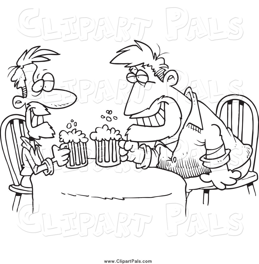 Pal Clipart Of Cartoon Black And White Men Having A Drink