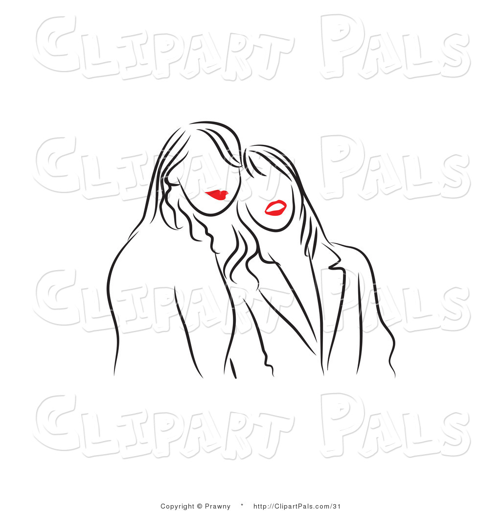 Pal Vector Clipart Of Black And White Red Lipped Friends