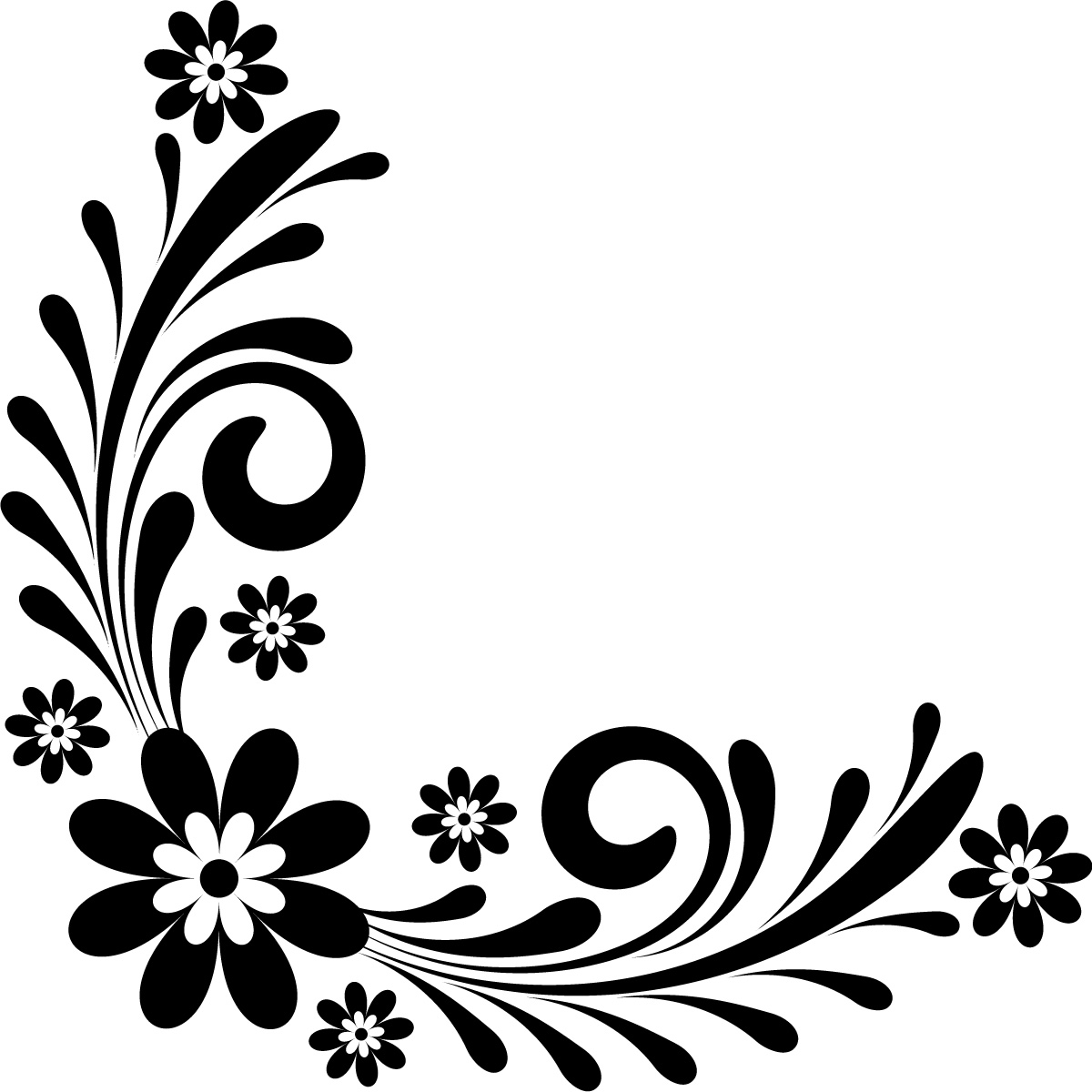 Page Border Designs Flowers Black And White