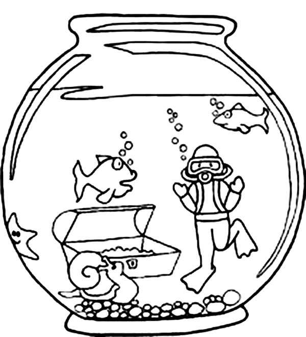 fish bowl colouring pages page 3