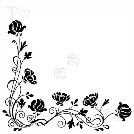 page border designs flowers black and white cliparts
