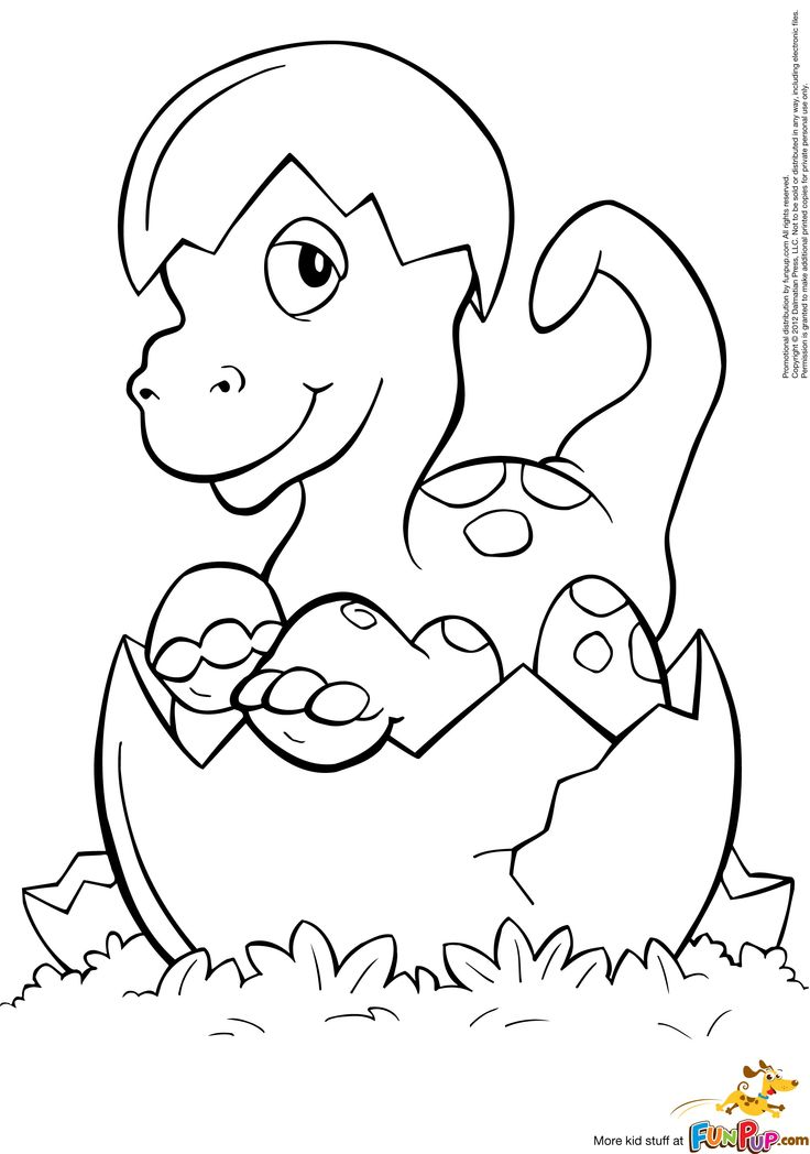 hatched baby dino coloring page free printable coloring pages
