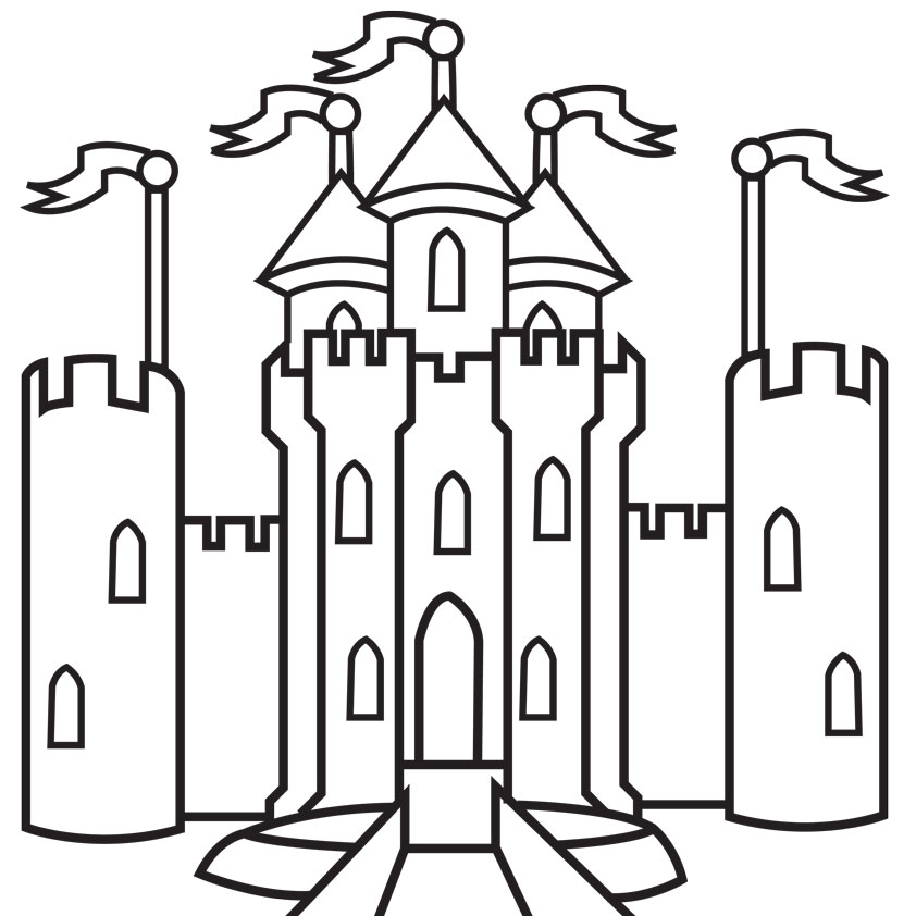 medieval castle colouring pages page 3