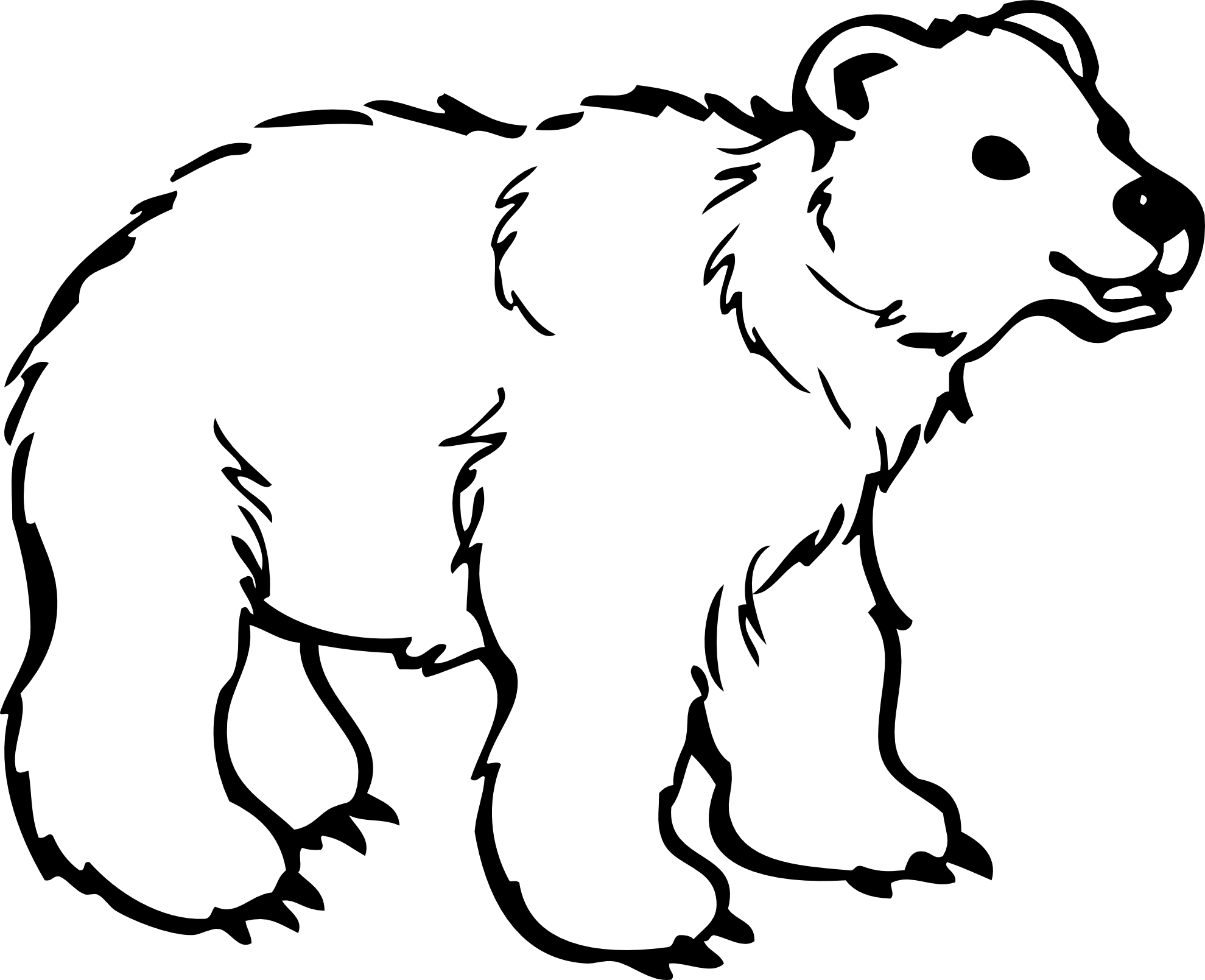 young bear black white line art coloring sheet colouring page
