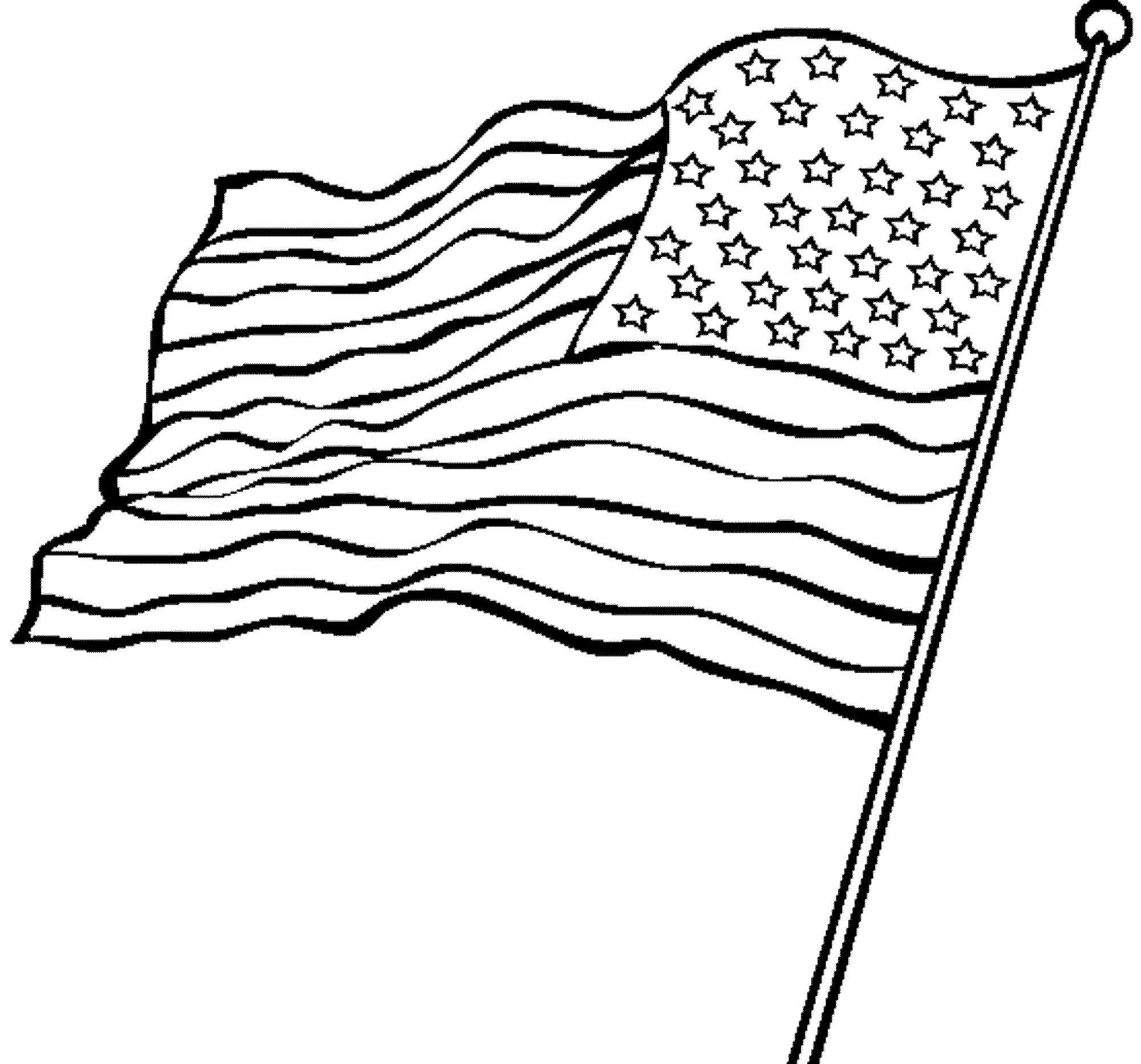 Waving American Flag Drawing