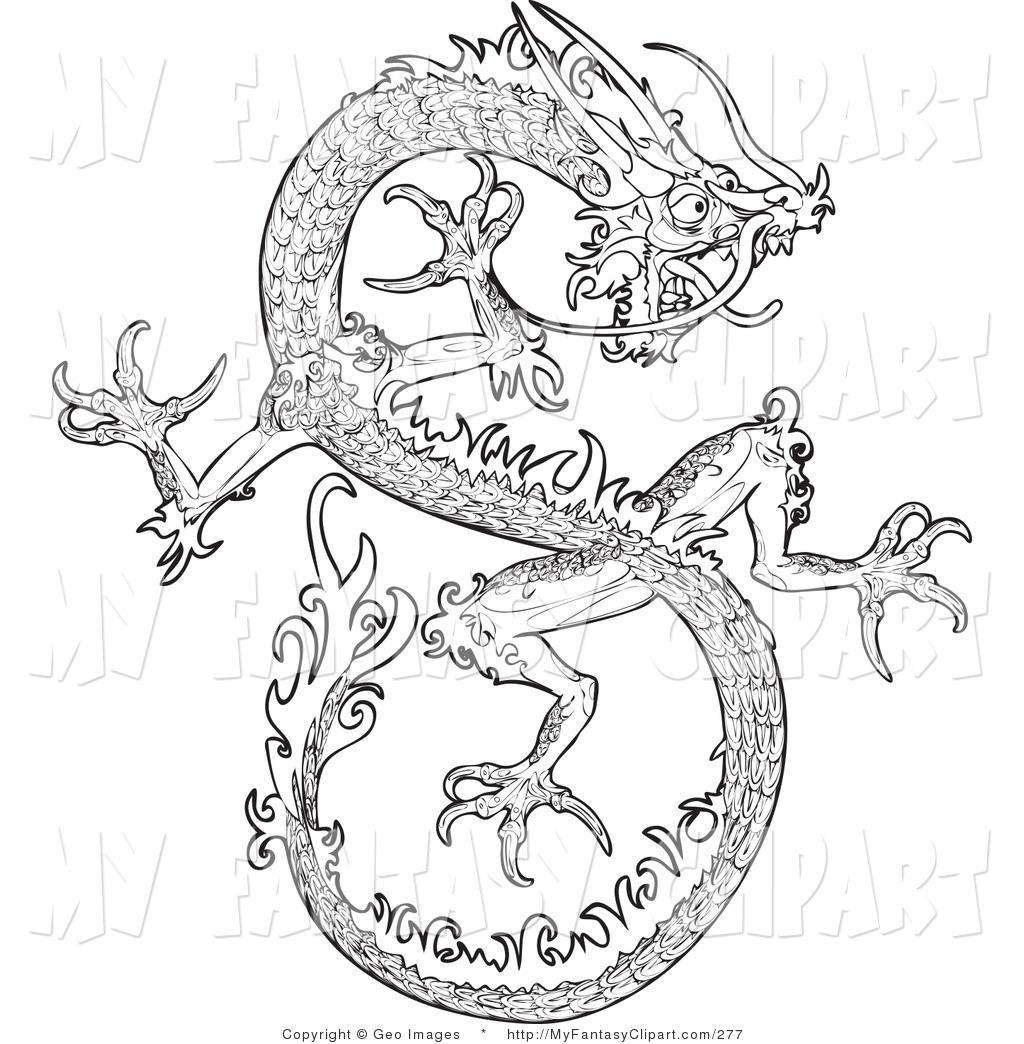 Dragon Art Black And White