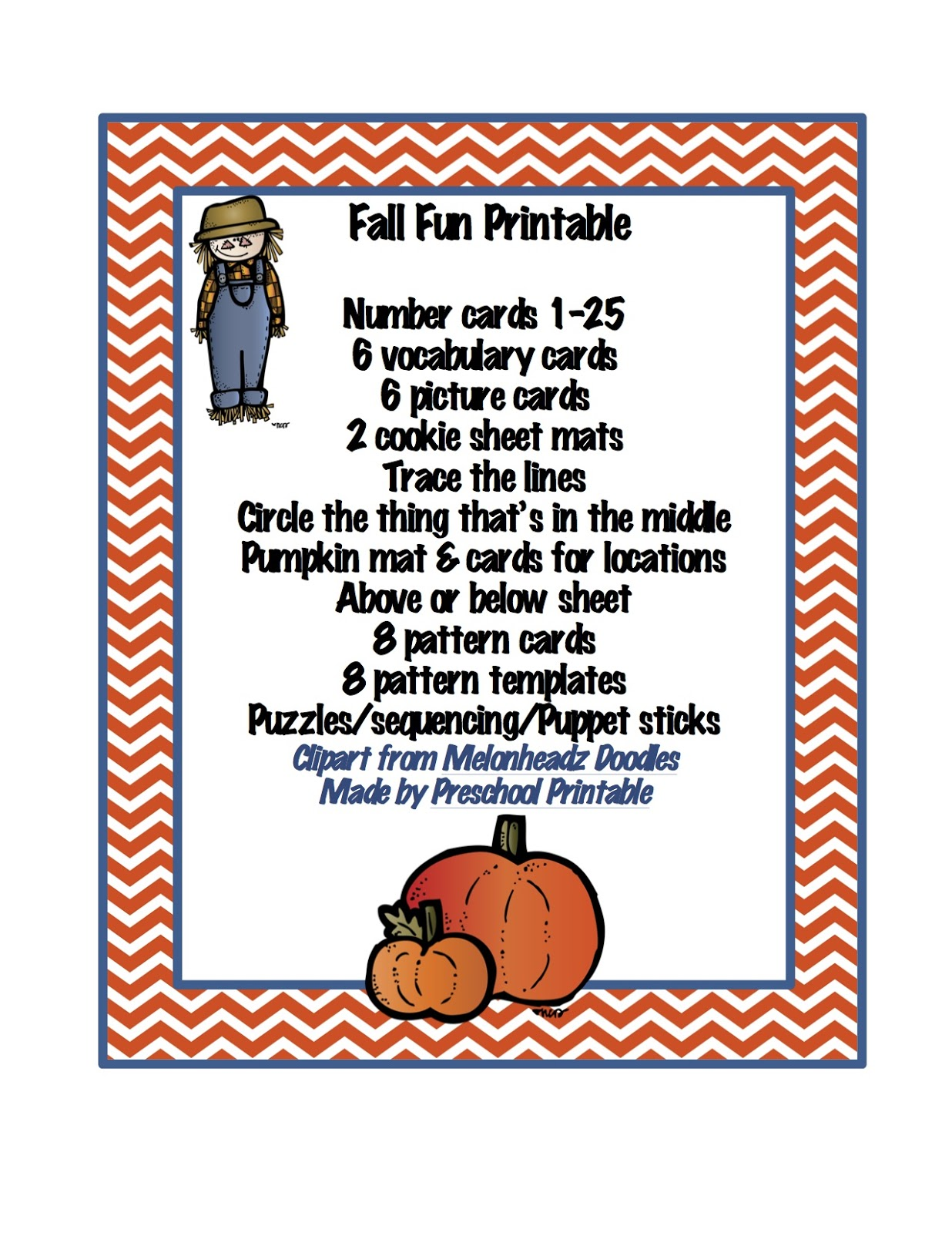 Preschool Printables Fall Fun Printable