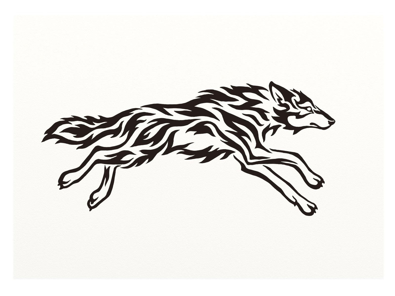 Running Wolf Tattoo