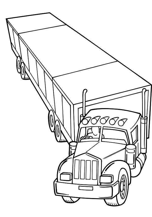 trailer semi truck coloring page netart