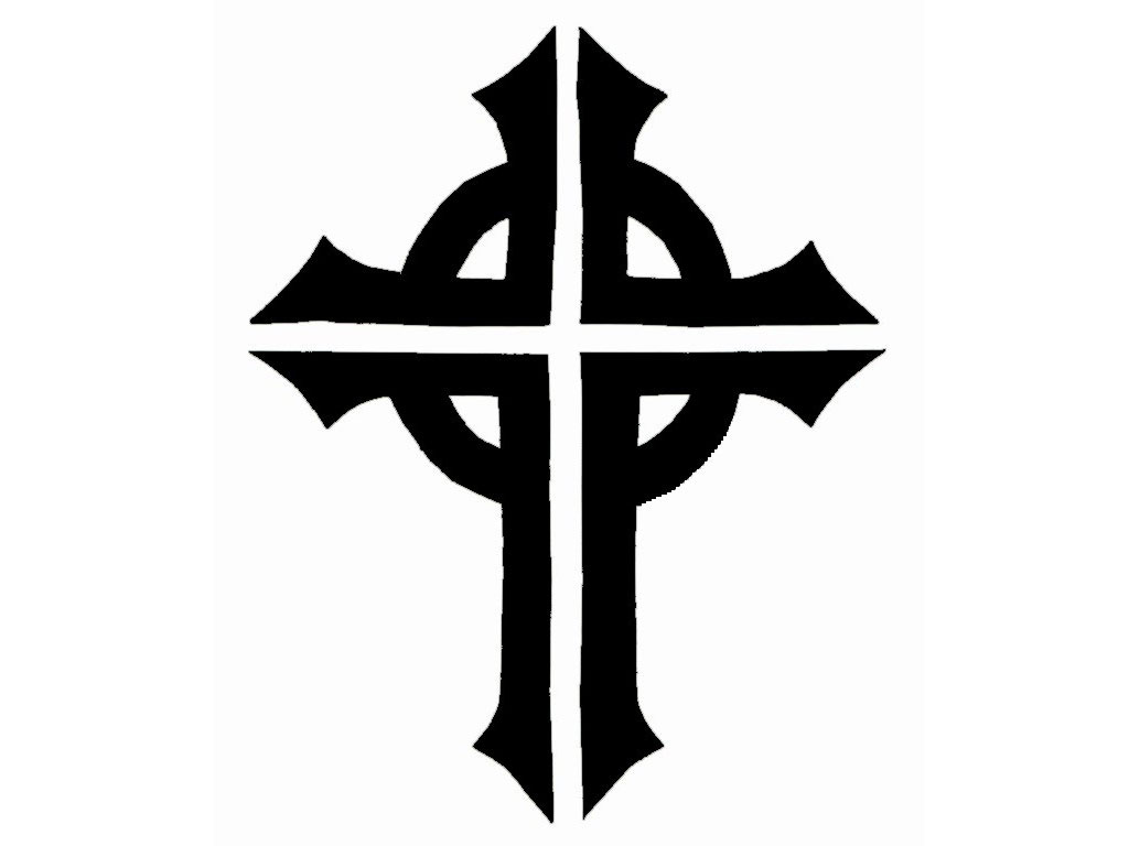 Black And White Cross Tattoo