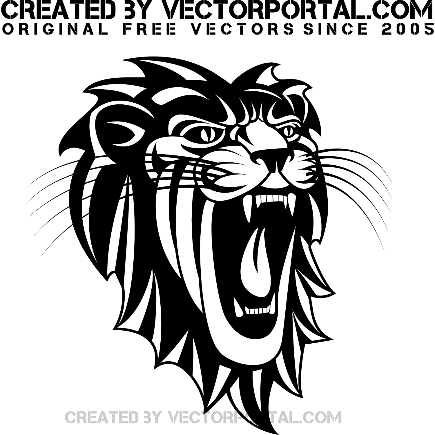 Roaring Lion Clipart Black And White