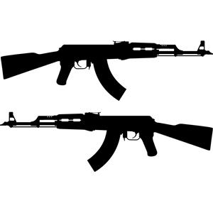 AK 47 Rifle silhouette clipart, cliparts of AK 47 Rifle ... (300 x 300 Pixel)