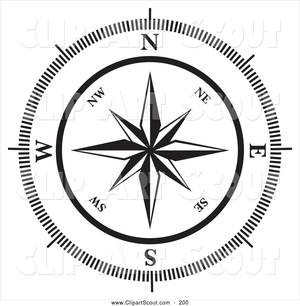 Clipart Of A Black And White Compass Rose On White By