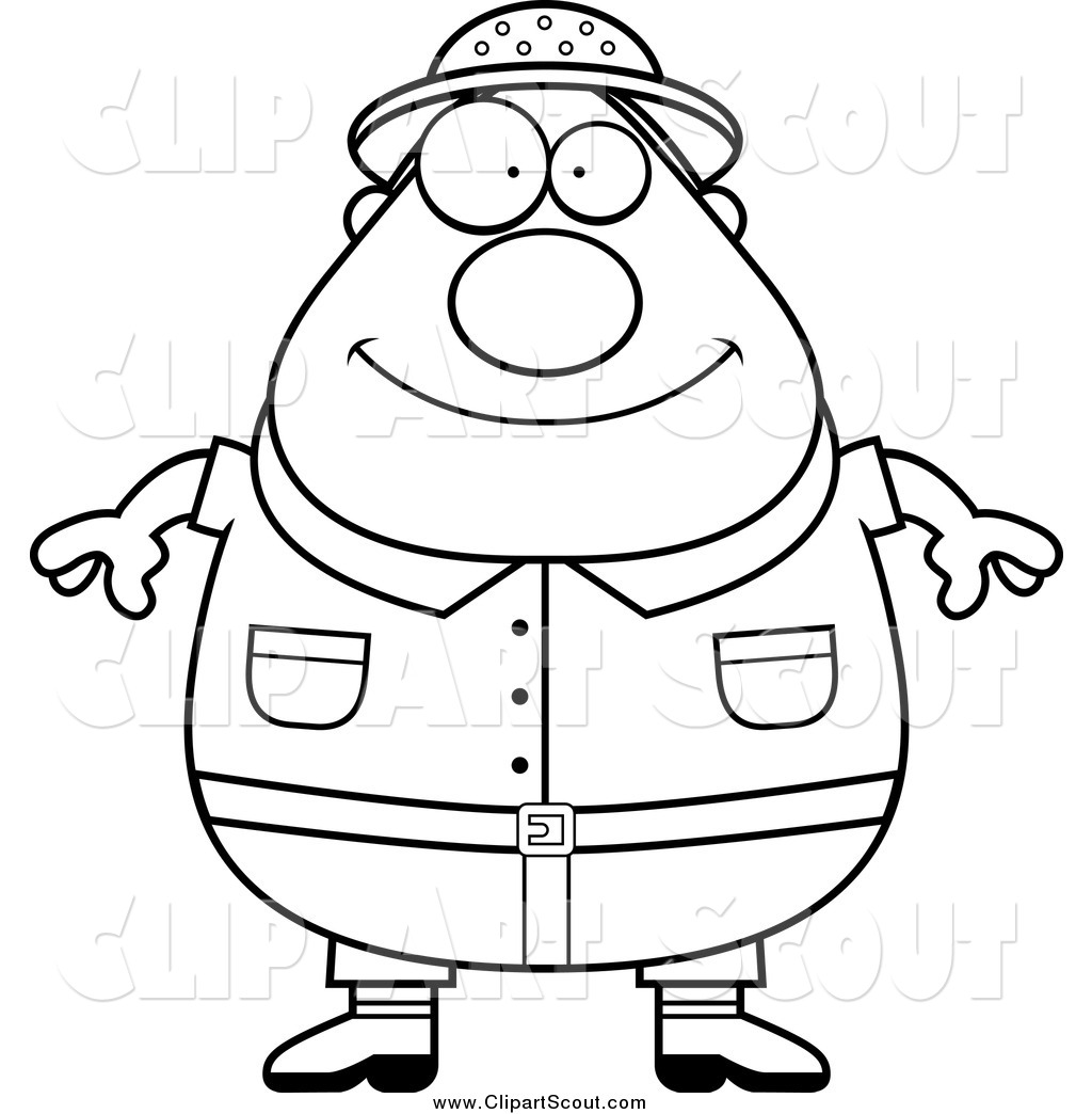 Clipart Of A Black And White Fat Safari Man By Cory Thoman
