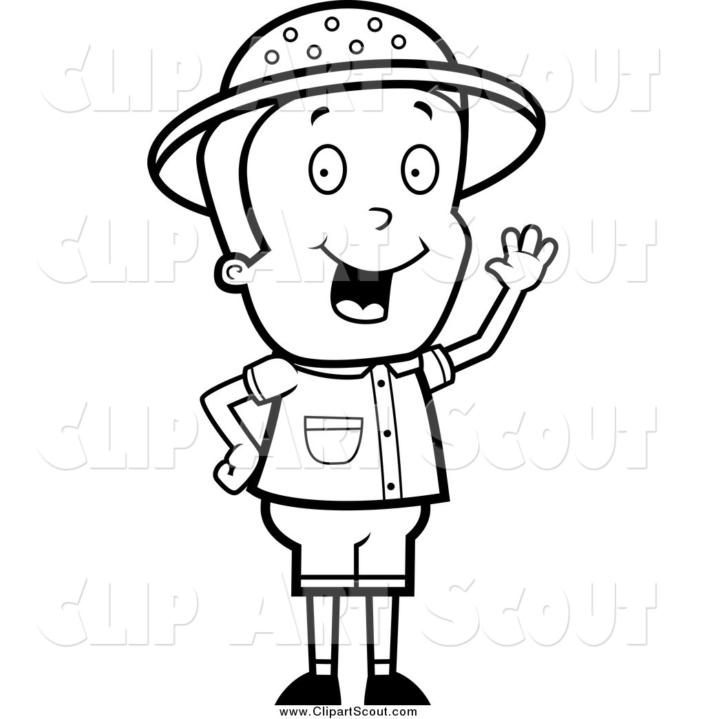 Clipart Of A Black And White Safari Boy Waving By Cory