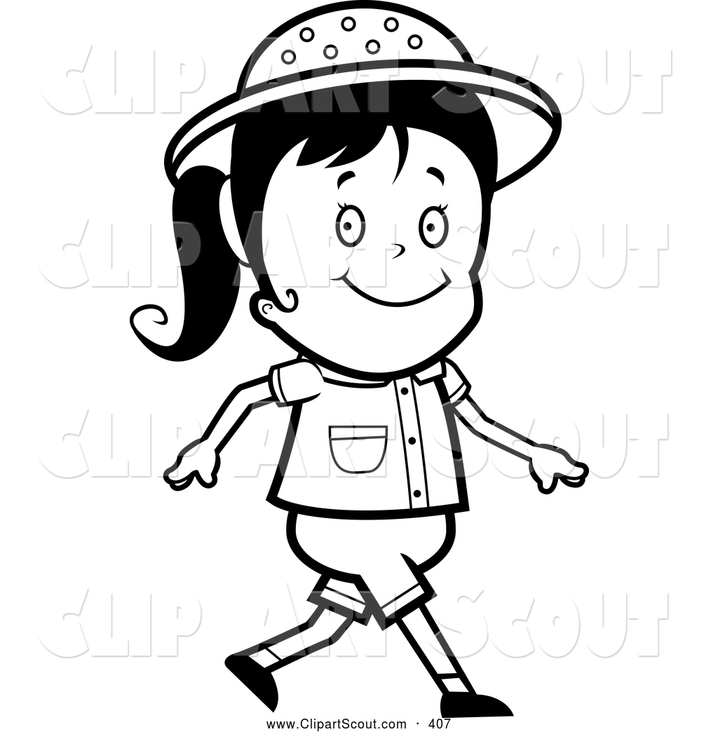 Clipart Of A Black And White Walking Safari Girl By Cory Thoman