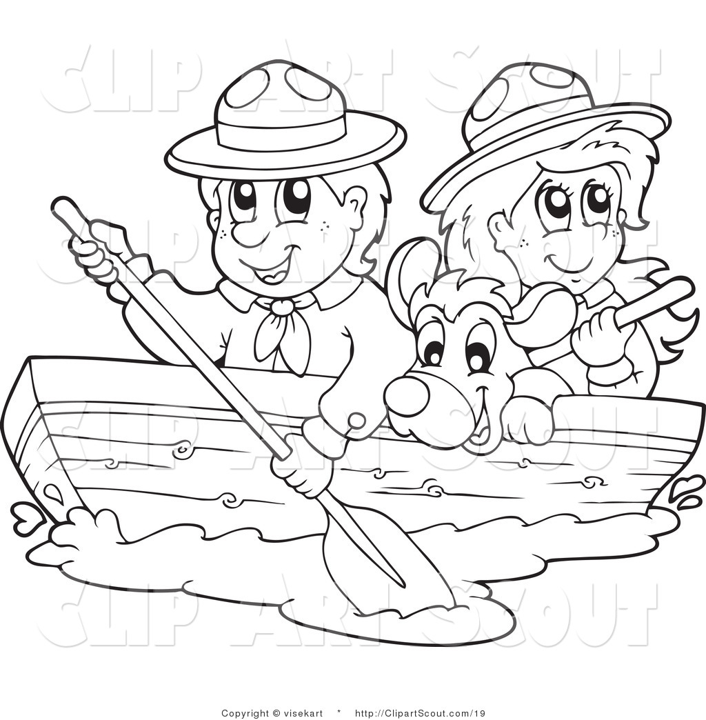 Vector Clipart Of Black And White Scouts And Dog Boating