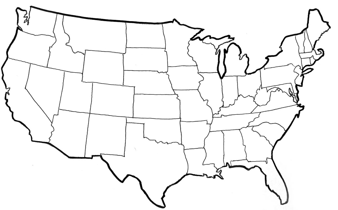9 Photos Of Outline Drawing Of United States Us Maps