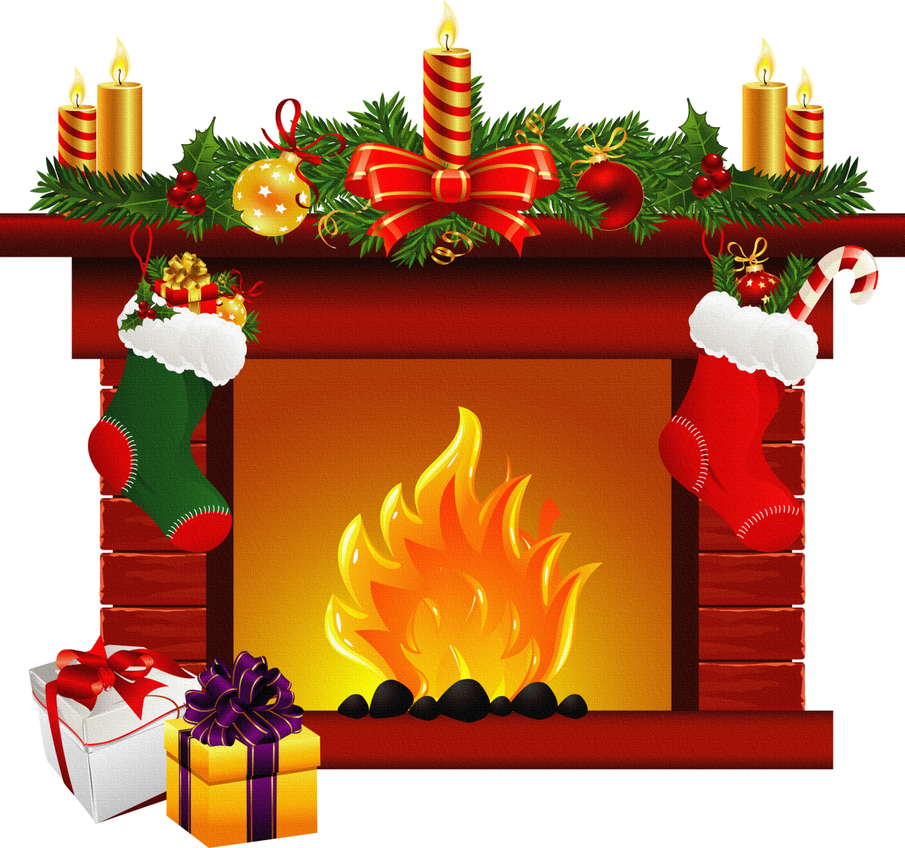 Image result for christmas stockings fireplace clipart