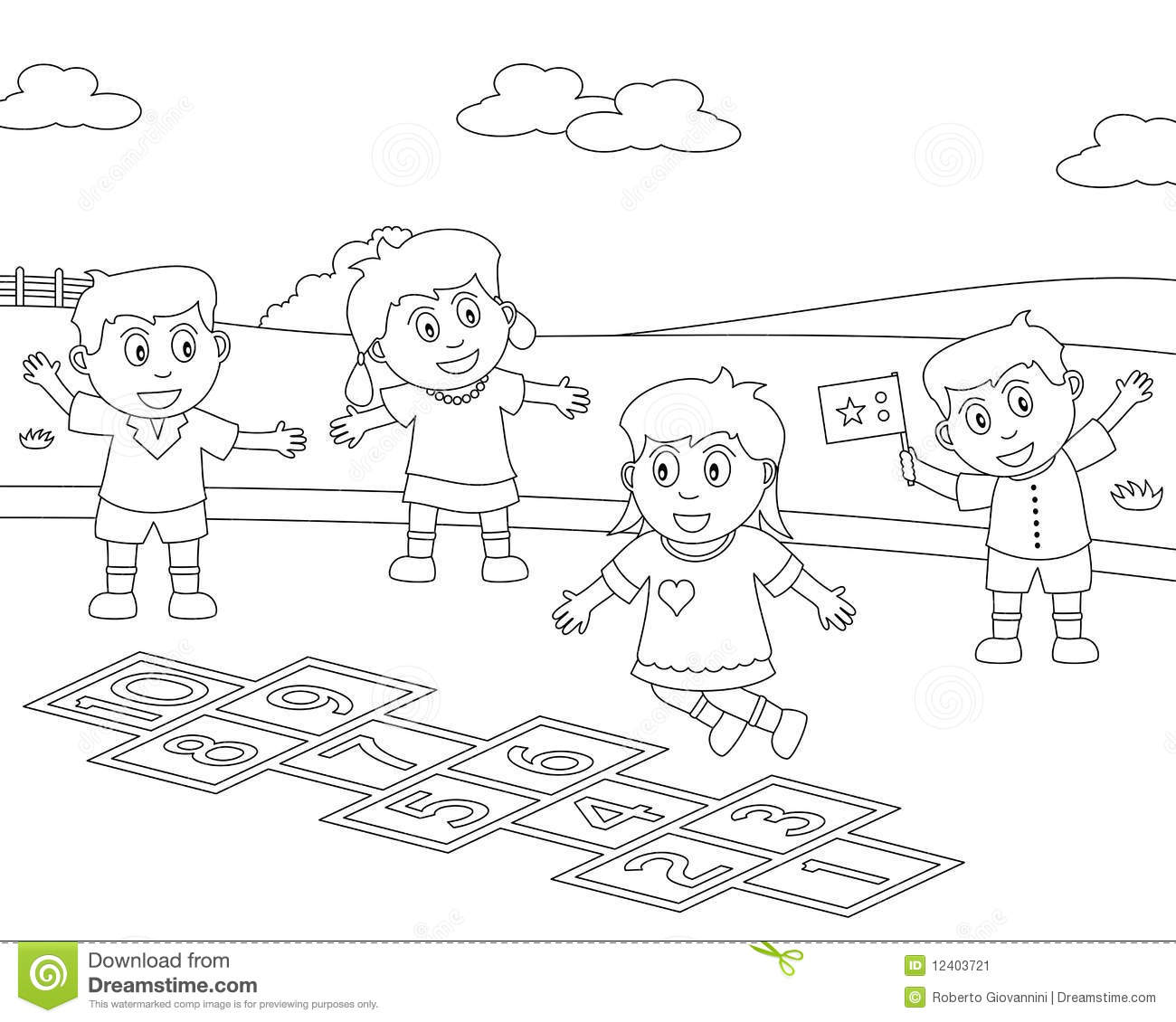 Children Playing In The Park Clipart Black And White 10