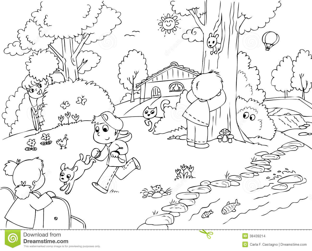 Children Playing In The Park Clipart Black And White 4
