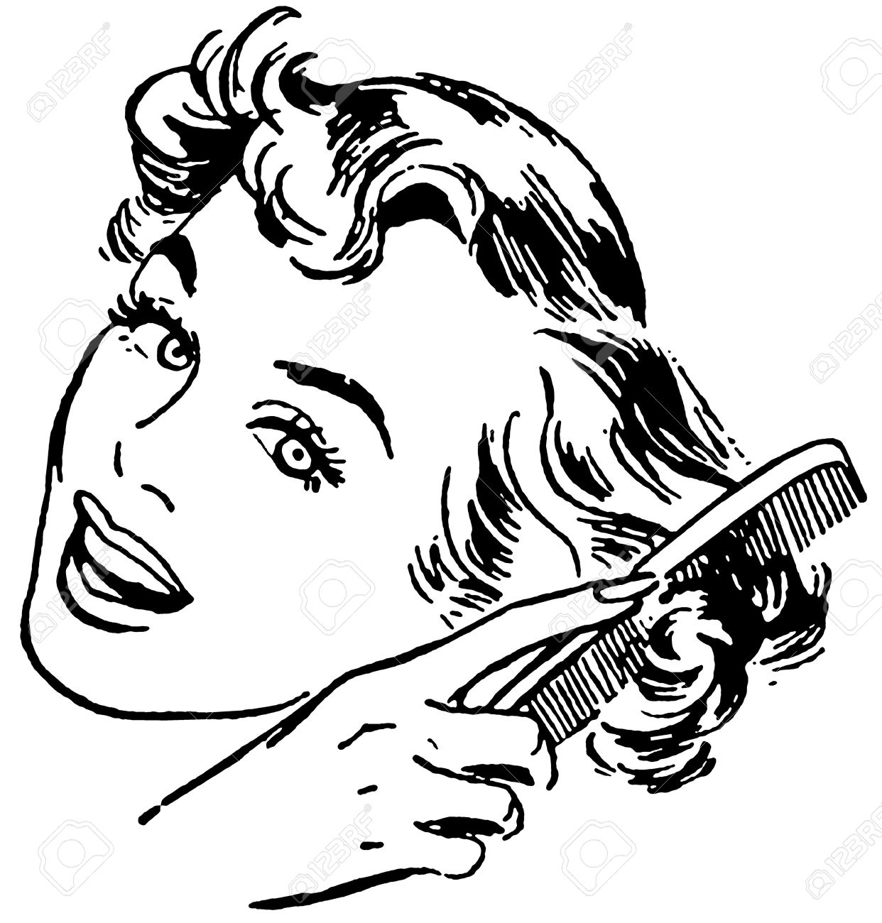 Combing Hair Clipart Black And White 1 Clipart Station