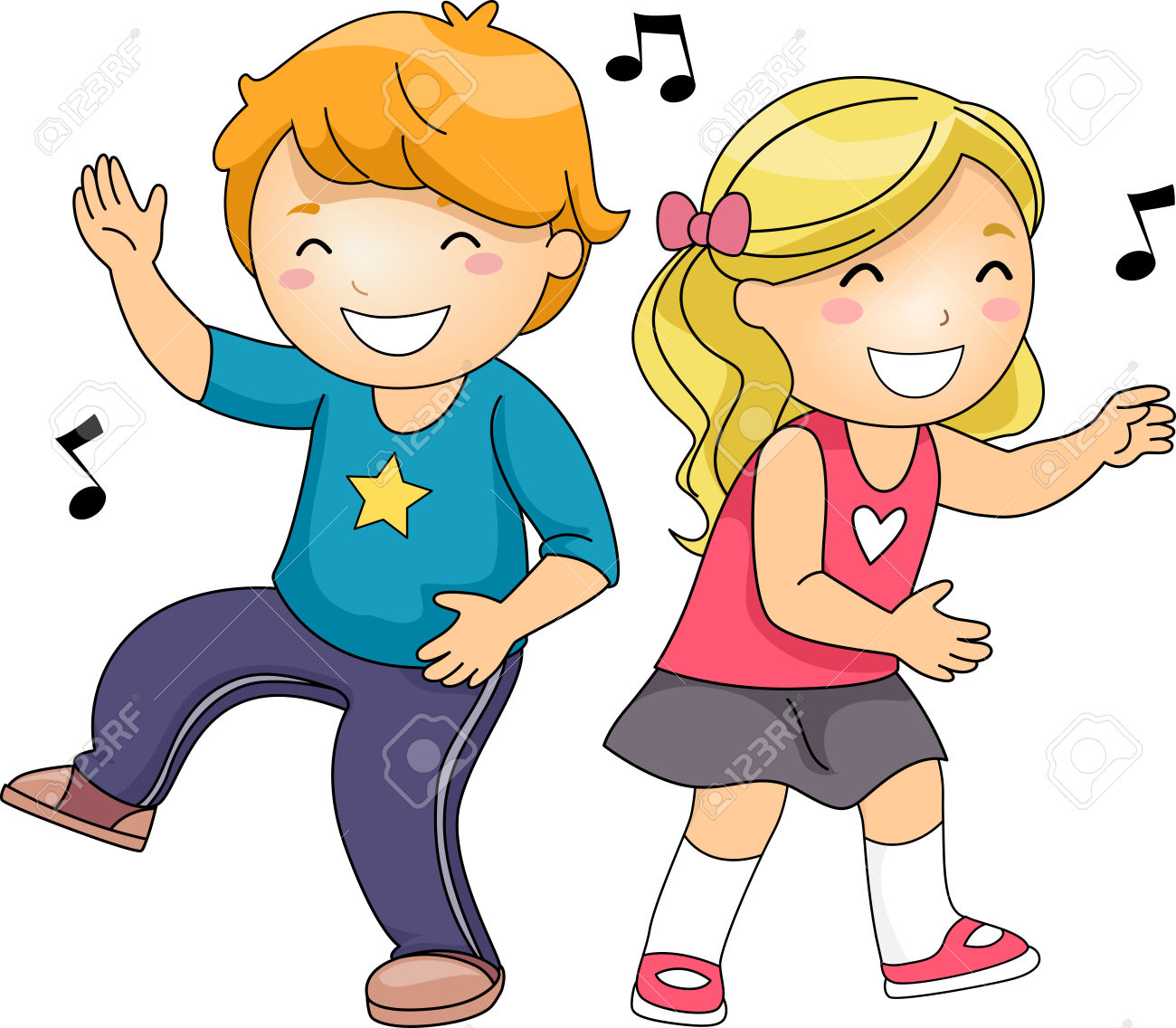 Kids Freeze Dance Music Notes Clipart Station