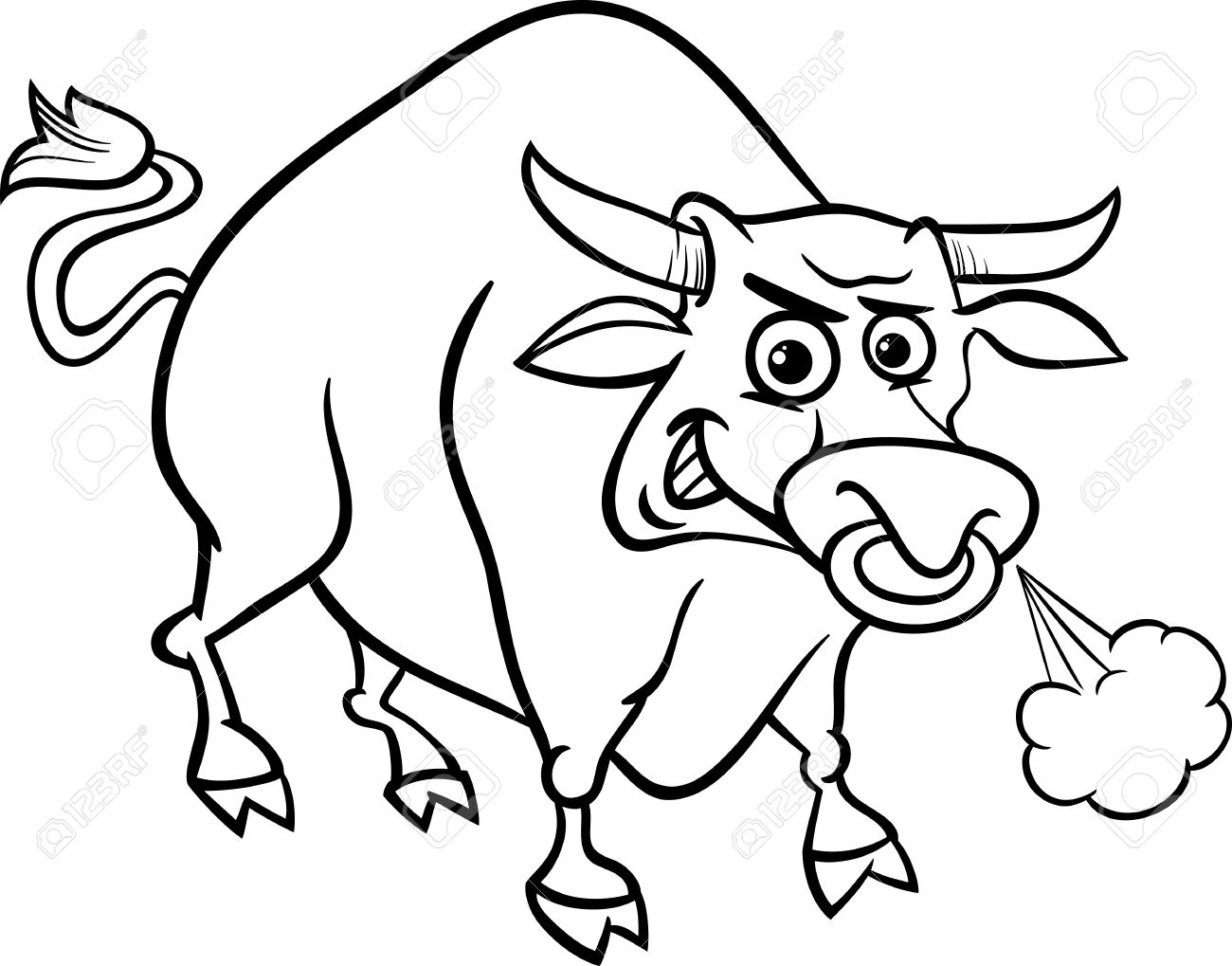 Bull Farm Animal Coloring Page Clipart Station