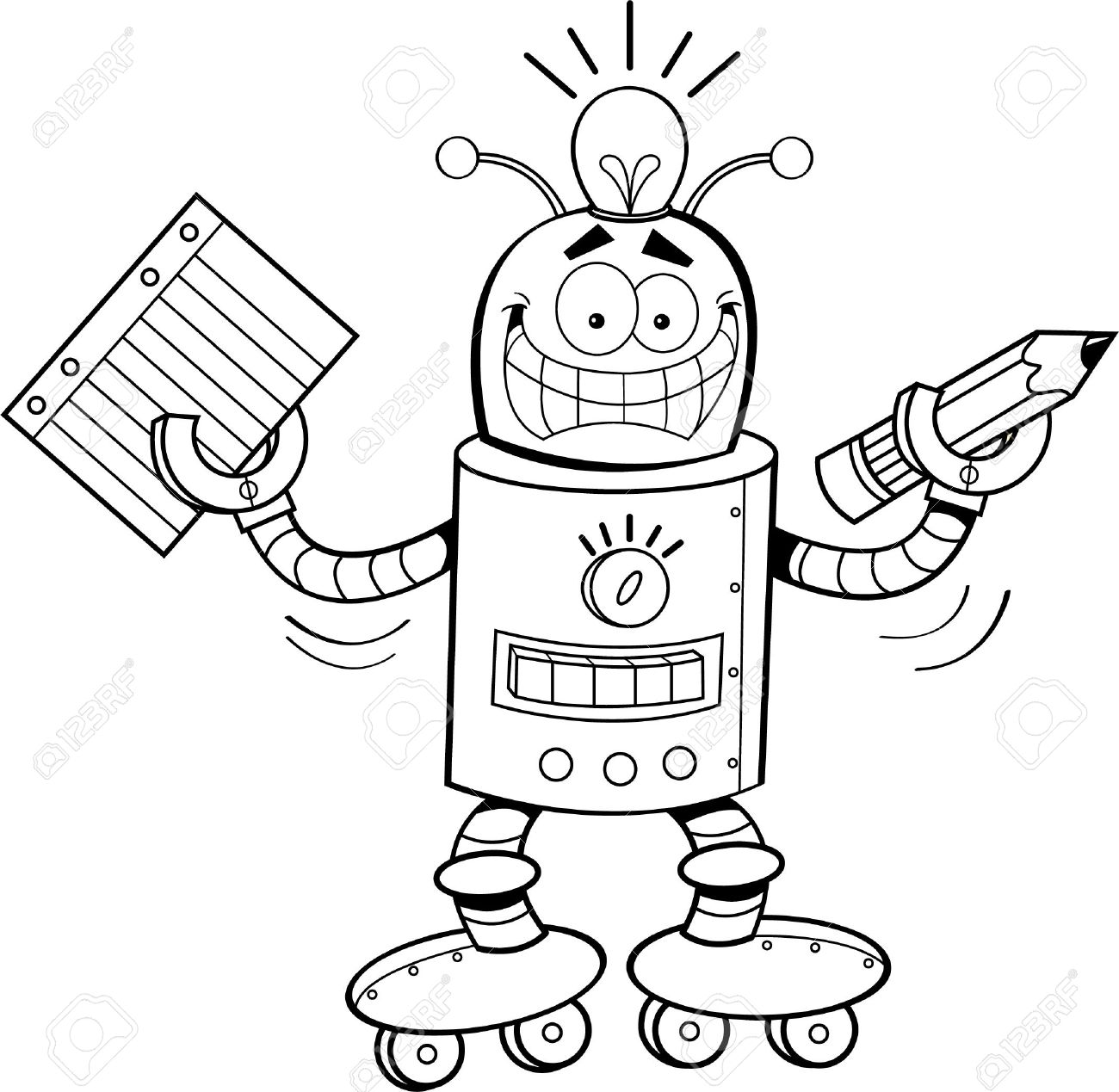 Robot Clipart Black And White 8 Clipart Station