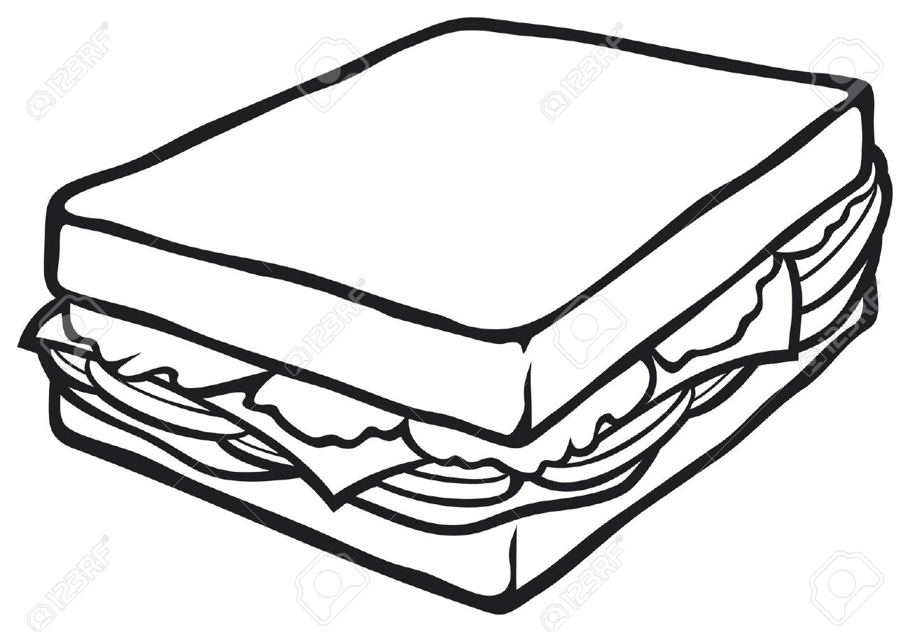 Sandwich Clipart Black And White Clipart Station