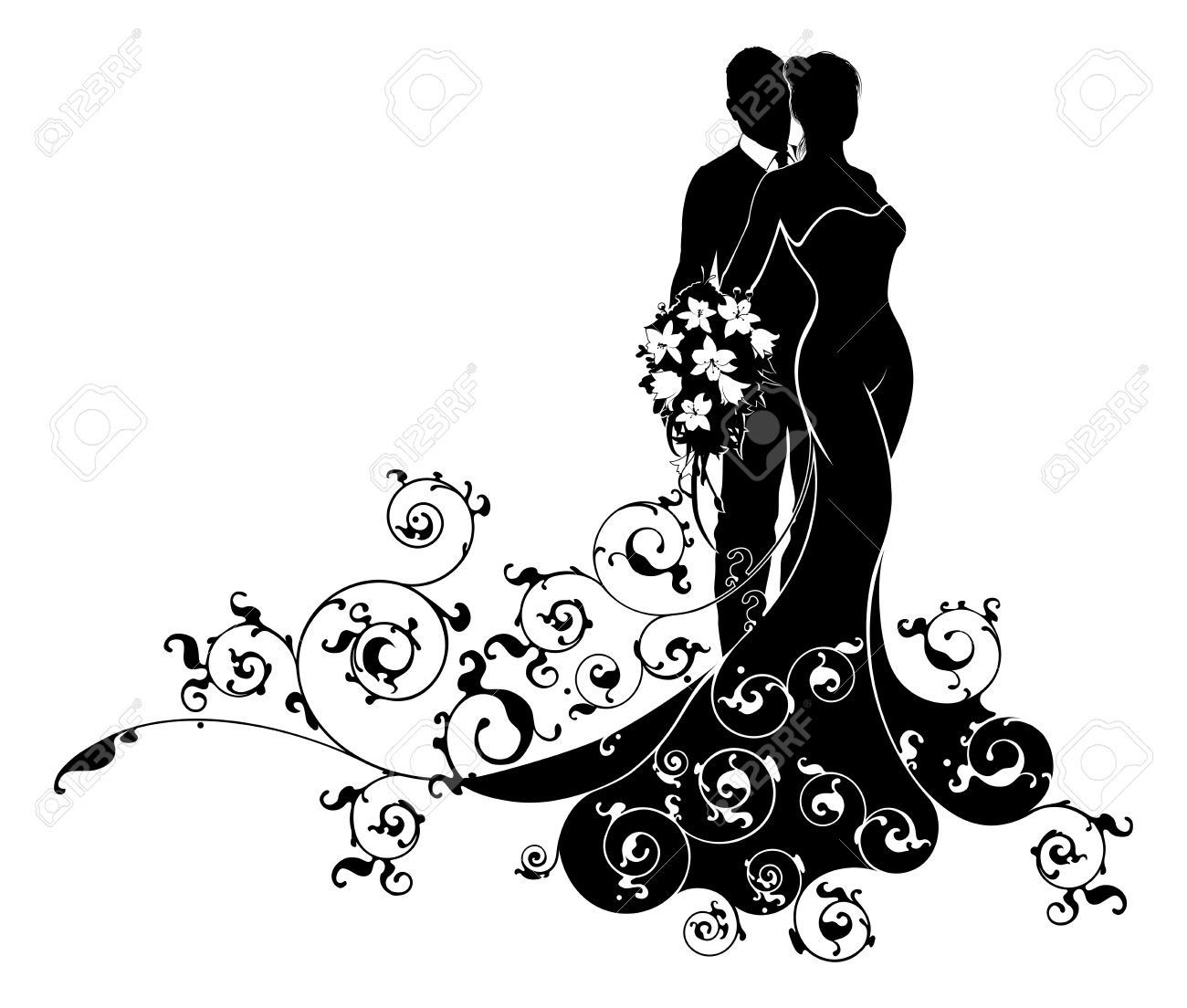 Bride And Groom Wedding Abstract Dress Silhouette