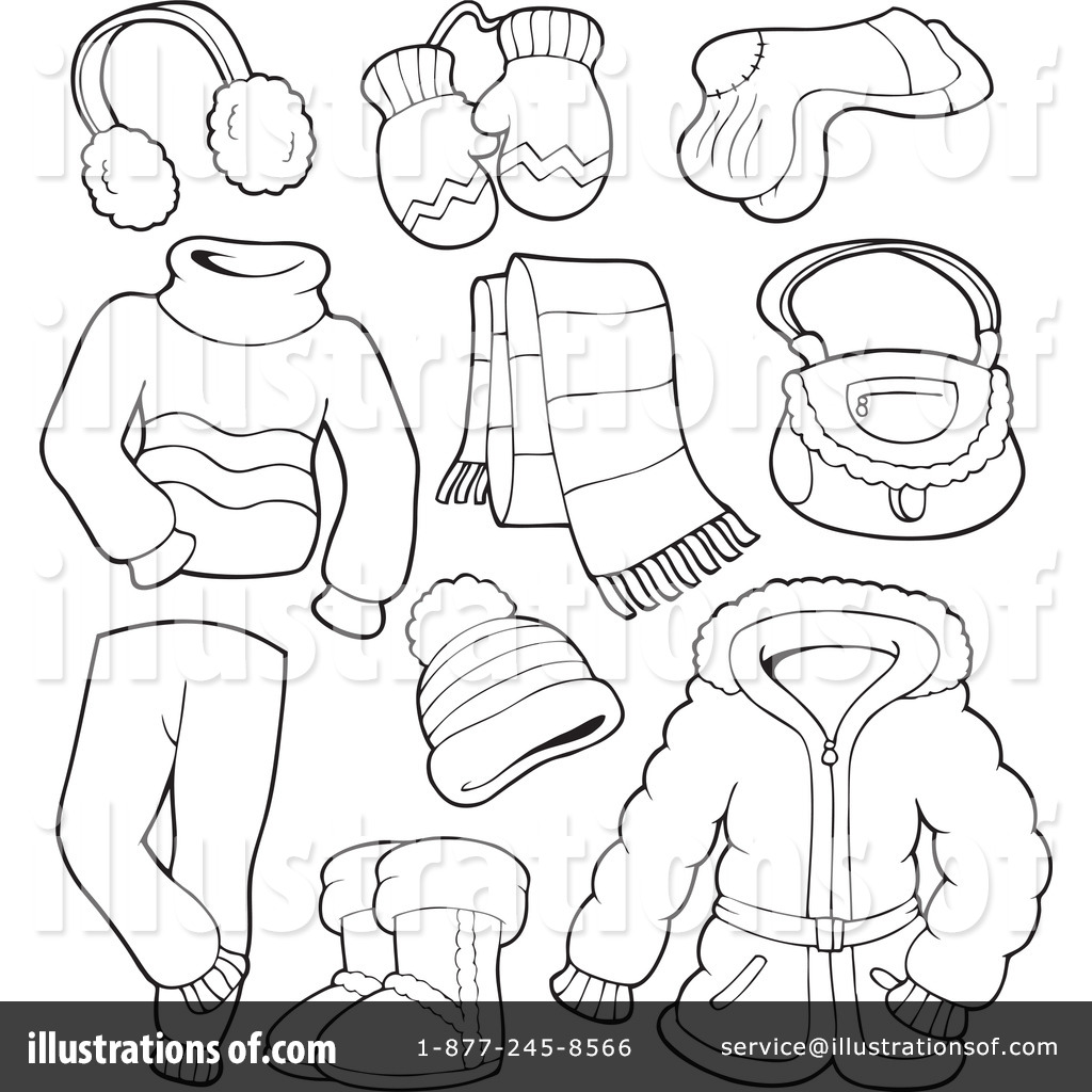 Winter Clothes Clipart Black And White 12 Clipart Station