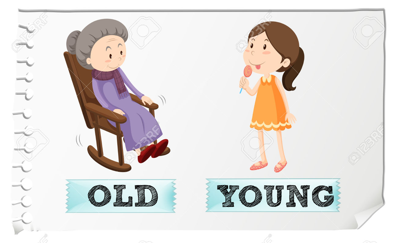 Opposite Adjectives Old And Young Clipart Station