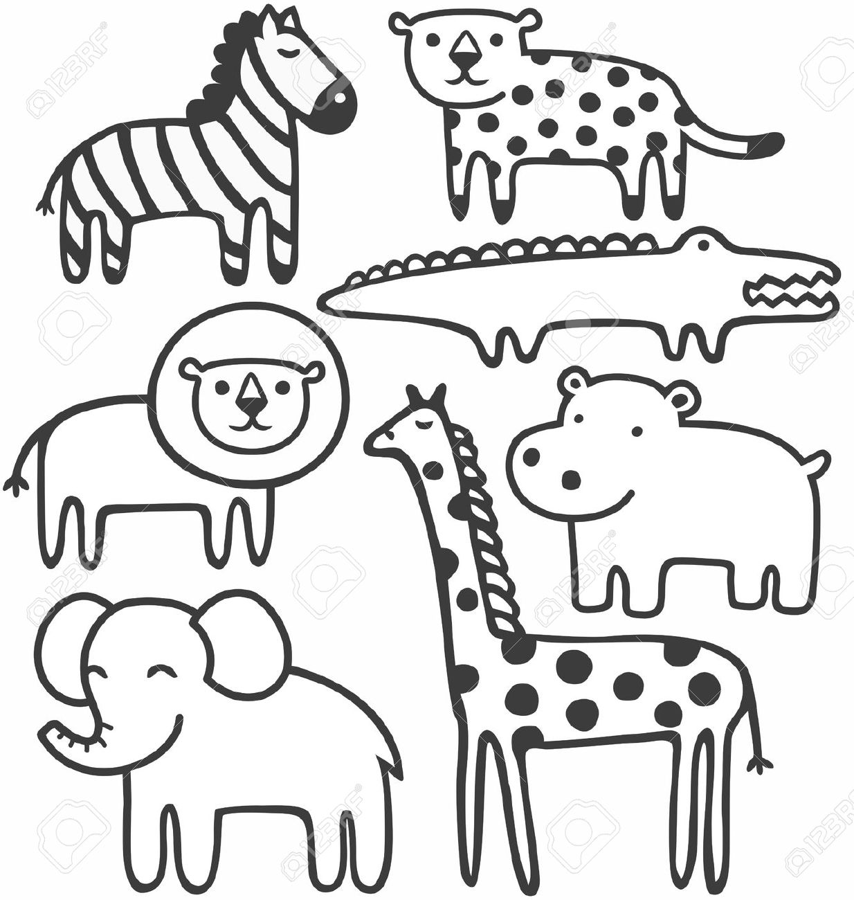 Zoo Animals Clipart Black And White 1 Clipart Station