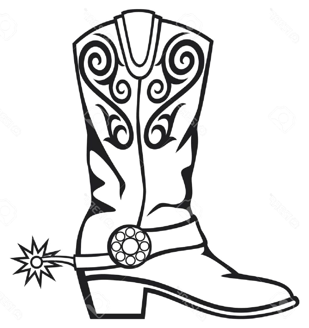 Cowboy Boot Clipart Black And White 4 Clipart Station