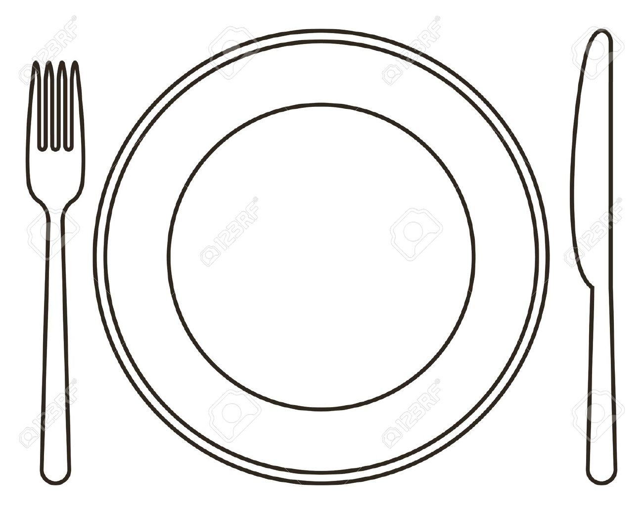 Plate And Utensils Clipart Clipart Station