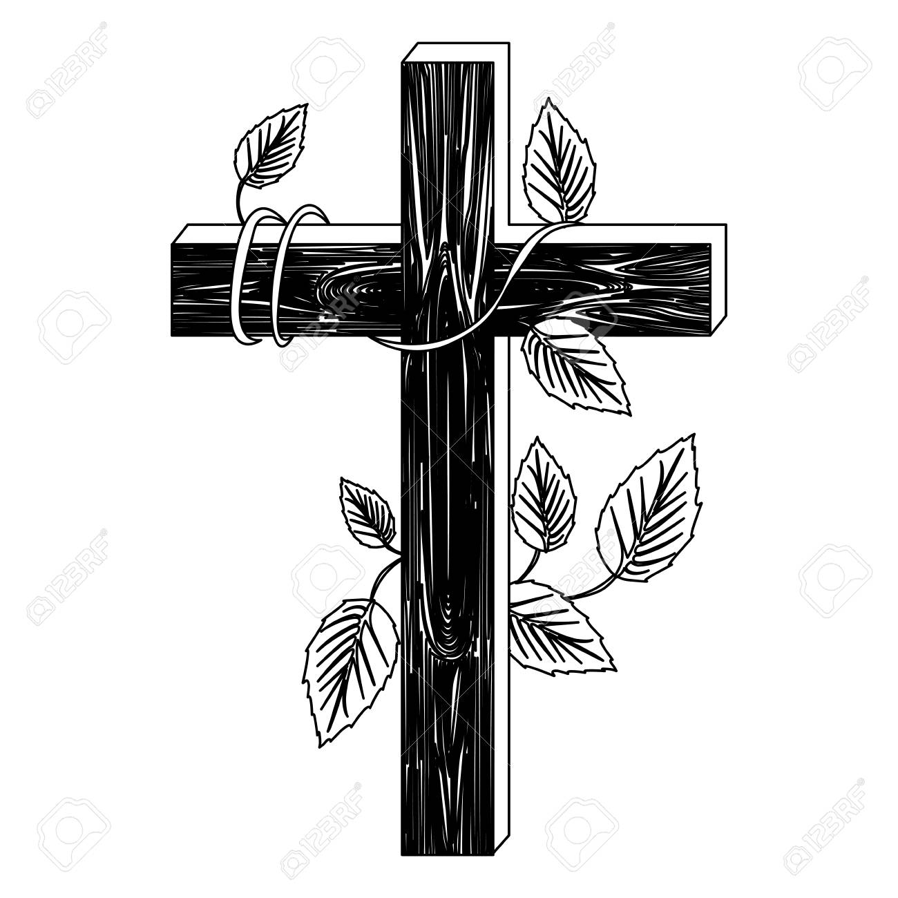 Black Silhouette Of Wooden Cross And Creeper Plant